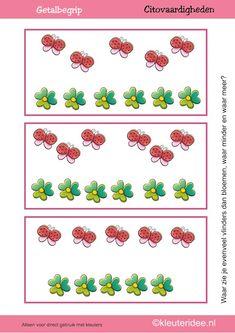 Citovaardigheden voor kleuters, kleuteridee.nl ,meten en getalbegrip, Waar zie je evenveel, waar meer en waar minder vlinders dan bloemen 2 ...