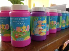 I bought basic bubbles at the party store, then used Photoshop to create these labels featuring all the characters from In the Night Garden. It was a fun project! So easy and inexpensive.