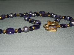 Purple Trio Beads Necklace   Pearl Gemstone and by nmarzoladesigns, $35.00