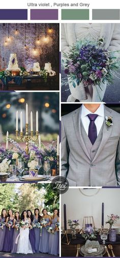 ultra violet,green and grey wedding color combos