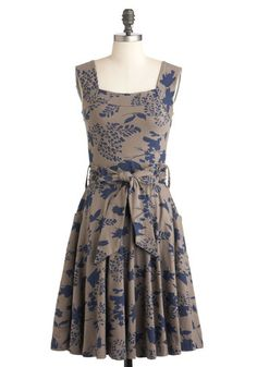 Guest of Honor Dress by Effie's Heart - Brown, Blue, Floral, Pockets, Party, Casual, A-line, Sleeveless, Tank top (2 thick straps), Show On Featured Sale, Long, Best Seller