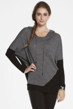 Stylish batwing contrast hoodie with a ribbed hemline and drawstrings at the neck. Wear with your favourite pair of jeans for a super-relaxed look that keeps you warmed as well as styled. Bat Wings, Hemline, Knitwear, Fashion Beauty, Pullover, Hoodies, Stylish, Blouse, My Style