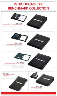 Intro-benchmark-collection  Until the 21st of May, order 50 or more of any of the above models in our Benchmark Collection and receive a FREE laser engraving per item ordered.  Setup Charge applies.  FOLD-2025 – Benchmark A4 Folder   R 130.00 excl VAT   FOLD-2092 – Benchmark A5 Zip Around Folder  R 79.99 excl VAT    GIFT-9168 – Benchmark Cd Case  R 55.00 excl VAT   GIFT-9169 – Benchmark Business Card Holder  R 55.00 excl VAT   TABLET-2094 – Benchmark Tablet Holder   R 137.99 excl VAT
