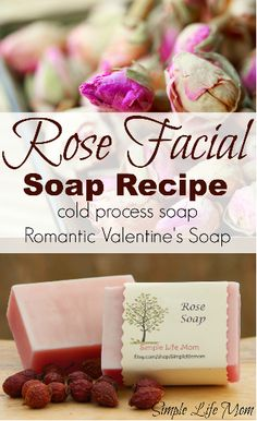 Rose Soap Recipe This rose soap makes a wonderful cold process face bar recipe with natural pink coloring from rose clay and scented with rose essential oil. Learn about rose essential oil benefits and make this natural romantic soap from scratch. Diy Savon, Savon Soap, Soap Making Recipes, Homemade Soap Recipes, Homemade Scrub, Homemade Biscuits, Diy Cosmetic, Diy Peeling, Face Soap
