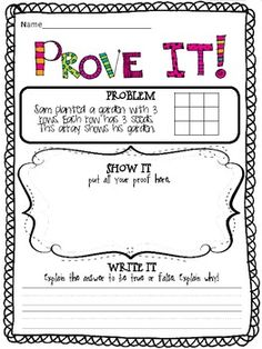 Prove it! {4th grade Common Core math problems}.....could be differentiated for other grade levels. I like the space for writing an explanation!!!
