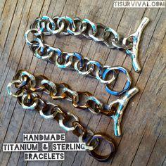 Custom titanium, copper, and zirconium lanyard beads & edc gear Titanium Jewelry, Titanium Rings, Chunky Silver Necklace, Sterling Silver Bracelets, Fashion Bracelets, Custom Jewelry, Edc, Metal, Personalized Jewelry