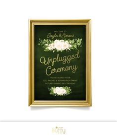 $20 on ETSY | The JAYLA . Unplugged Wedding Ceremony Sign . Emerald Green & Gold Calligraphy . Fern Dahlia White Rose Garland Green leaves . Speak easy Parlor . Large Printed Sign by BuffyWeddings on Etsy