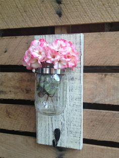 Mason Jar Wall Decor with Hook,YOU PICK COLOR,Wall Hook,Wall Hanger,Rustic,Shabby Chic Rustic Wall Decor,Wall Hook,Mason Jar Wall Sconce on Etsy, $20.00