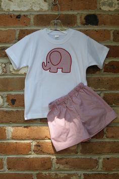 Éléphant Applique Shirt et Short ensemble en rouge Tattersall