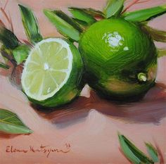 "Daily Paintworks - Original Fine Art © Elena Katsyura - ""Limes and Leaves"" – Original Fine Art for Sale – © Elena Katsyura - Painting Gallery, Fine Art Gallery, Vegetable Painting, Still Life Fruit, Fruit Painting, Painting Flowers, Gouache Painting, Painting Still Life, Fruit Art"
