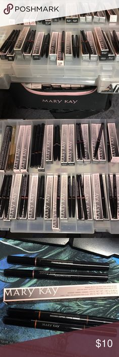 Large Supply Brand New Mary Kay eye and Lip liners All Products are stored in container as shown. some with and some without boxes. All products are new never used! Mary Kay eye and lip liners available in: - Tahitian Gold eyeliner pencils x5 (4 without box) - Frosted fig x3 or brushed copper x2 shadow liner duo -Taupe eyeliner one with box 3 w/o - Rich jade eyeliner 2 in box - Raspberry lip liner 2 with box 2 w/o box  - Chocolate lip liners 2 with box one w/o box  - Caramel lip liner one no…