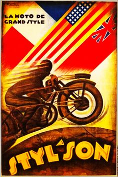 Styl'Son, la moto de frand style - - (J. Motorcycle Posters, Motorcycle Art, Motorcycle Types, Old School Art, Illustrations And Posters, Vintage Advertisements, Ads, Watercolor Paper, Vintage Posters