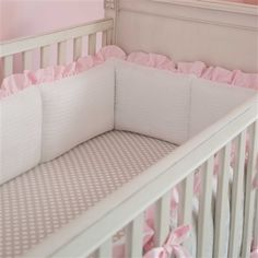 French Gray and Pink Damask Crib Bumper
