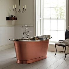 Fired Earth Babylon Bath in Brushed Copper with White Enamel Interior Bad Inspiration, Bathroom Inspiration, Interior Design Inspiration, Bathroom Ideas, Family Bathroom, Bathroom Remodeling, Family Room, Design Ideas, Fired Earth Bathroom