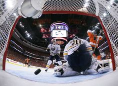 A shot by the Philadelphia Flyers' Danny Briere gets past Buffalo Sabres goalie Ryan Miller