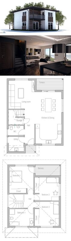 Small House Plan, Affordable to build, three bedrooms. Floor Plan from ConceptHome.com