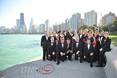 Chicago wedding North avenue beach wedding party black and red colors