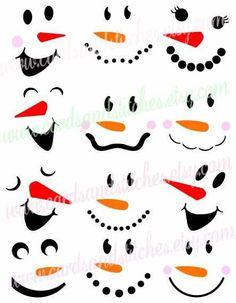 Snowman Faces SVG - Snowmen SVG - Winter - Digital Cutting File - Graphic Design - Vector File - Instant Download - Svg, Dxf, Jpg, Eps, Png