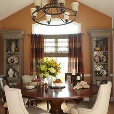 Warm dining room.