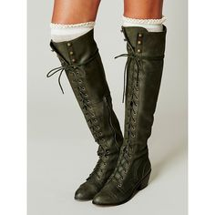 Joe Lace Up Boot (850 SEK) ❤ liked on Polyvore featuring shoes, boots, over-the-knee boots, lace up thigh boots, zipper boots, over the knee leather boots, short lace up boots and leather lace up boots