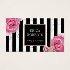 Vintage Floral Modern Stripes Marble Makeup Artist Business Card - stylist business cards cyo personalize businesscard diy