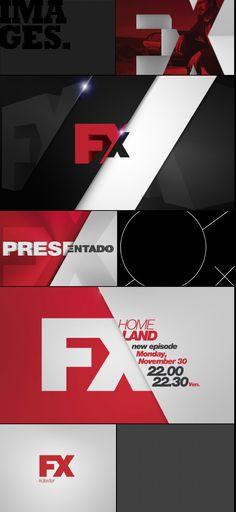 FX channel branding. Moton design styleframes in broadcast graphics