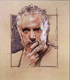 Drew Struzan, Artist Ilistrator, Self Portrait Trois Crayons, Self Portrait Art, Toned Paper, Portrait Inspiration, Silhouette, Figure Drawing, Figurative Art, Selfies, Illustrators