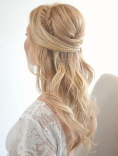 Fishtail Braid + Poof Half Updo.