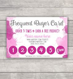 Mary Kay - Frequent Buyer Card - Watercolor Custom Printable PDF