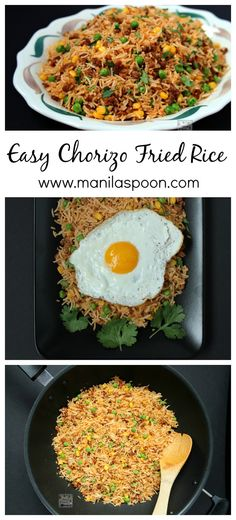 Don't throw away your left-over rice and make this easy and tasty Chorizo Fried Rice. Simply add a few drops of hot sauce to give it a spicy kick! Oh yum!