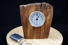 Quartz Clock Mounted in a Piece of Very Old Rustic Fatwood Pine  FREE SHIPPING Lathe, Mother Nature, Clocks, Bottle Opener, Barware, Pine, Mystery, Quartz, Rustic