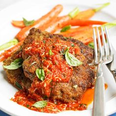 Italian Fried Steak with Roasted Pepper Pesto | Top crispy breaded steak with a sauce of blended roasted red peppers and Romano cheese for a fast and delicious meal.