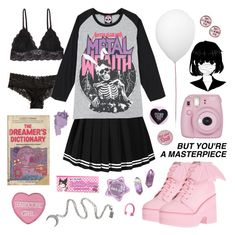 """""""Simple sweet goth cutie"""" by pastelprincess152 ❤ liked on Polyvore featuring Humble Chic, Hollister Co., Iron Fist, Fujifilm, Estiluz and Claire Evans"""