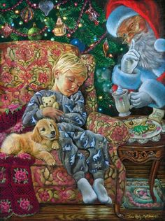 Tricia Reilly-Matthews, artist ~ sleeping boy ~ Santa ~ Christmas
