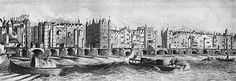 Panoramic view of London Bridge as it looked around the middle of the Seventeenth Century. The South Gate with heads on pikes is on the far left. Capsized boatmen are seen struggling in the Thames to the right