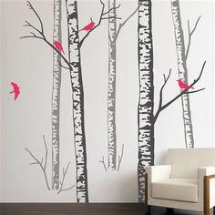 Zazous - Sticker mural forêt de bouleau et oiseaux roses, Gris