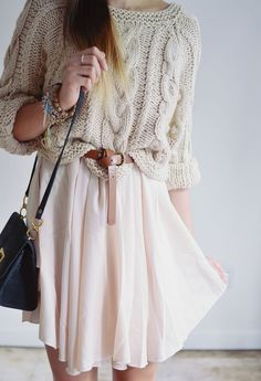 slouchy knit sweater, belted, ethereal dress/skirt.