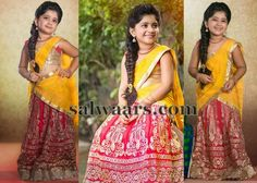 Baby in Pink and Mustard Half Saree | Indian Dresses                                                                                                                                                      More