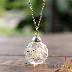 On sale 35%Dandelion wish necklace  make a wish by goldzengxiaojun