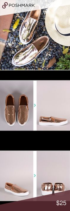 """ROSE GOLD SKIMMER SLIP ON LASER CUT SNEAKER ROSE GOLD SKIMMER SLIP ON LASER CUT SNEAKER    ADORABLE SLIP ON SNEAKERS FEATURES LASER CUT DESIGN, METALLIC UPPER, A PADDED SOLE AND A EASY SLIP ON. BE SURE TO LINE UP THESE KICKS AS YOUR NEW EVERYDAY GO-TO'S MATERIAL: MAN-MADE, LEATHERETTE SOLE: SYNTHETIC MEASUREMENT: HEEL HEIGHT: 1.25"""" (APPROX.) FITTING: TRUE TO SIZE Shoes Sneakers"""