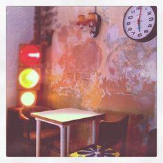 Rustic interior of soho cafe