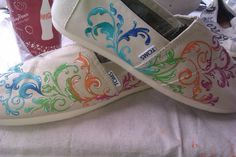 Fantastic Filigree hand painted TOMS by PaintedLaceStudios on Etsy, $125.00. so colorful!!!!!