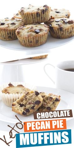 The one, the only, the ORIGINAL keto pecan pie muffins recipe. Accept no substitutes! These dense low carb muffins taste just like the filling from a gooey pecan pie. Add chocolate chips or not, it's up to you. They also travel really well and can be stor Pecan Pie Muffins, Pecan Pies, Apple Pies, Low Carb Sweets, Low Carb Desserts, Healthy Sweets, Healthy Food, Chocolate Muffins, Chocolate Chips