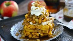 Caramel apple and pumpkin waffles topped by bourbon caramel and mascarpone cheese