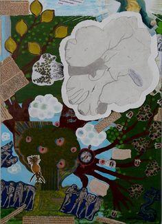 """<<FRUKTIG>> """"Sommer"""", Techniques mixtes sur toile, 50x70 cm, Karianne B. 2014  TELLusVISION #14 : FRUKTIG on Behance by Karianne B. -studio-TELLusVISION-"""