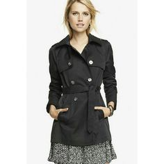 Express Black Trench Coat Brand new with tags! Sold out! Material: Cotton/Polyester. *Slick* Was bought for Christmas, but I will never wear it. Size medium. Taking reasonable offers! Express Jackets & Coats Trench Coats