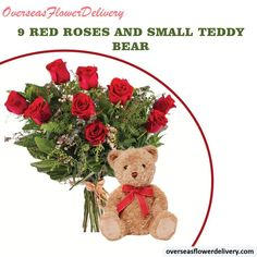 We provide red roses with a teddy bear soft toy. Kindly please note that the teddy bear may vary from the one shown. #redroses #roses #teddy #bear #teddybear #softtoy #flowers #roseflowers #gift #surprise Small Teddy Bears, Flower Delivery Service, Teddybear, Red Roses, Toys, Flowers, Gifts, Activity Toys, Fondant Teddy Bear