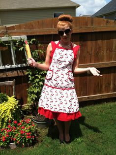 Vintage 1940s Red Cherry Full Apron Pin Up  by NonabelleVintage,