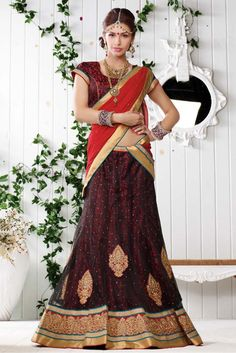 Net Party Wear Lehenga Choli in Black and Red Colour You will Look Beautiful After wearing this Lehenga Choli.Size Approx Lehenga,Stitched Upto 44 inches,Waist upto 44 inch,Hips upto 53 Inches.Unstitc...
