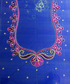 Collar neckline .. ياقات للصدر Cutwork Blouse Designs, Embroidery Neck Designs, Simple Blouse Designs, Stylish Blouse Design, Aari Embroidery, Mirror Blouse Design, Hand Work Blouse Design, Maggam Work Designs, Sari Design